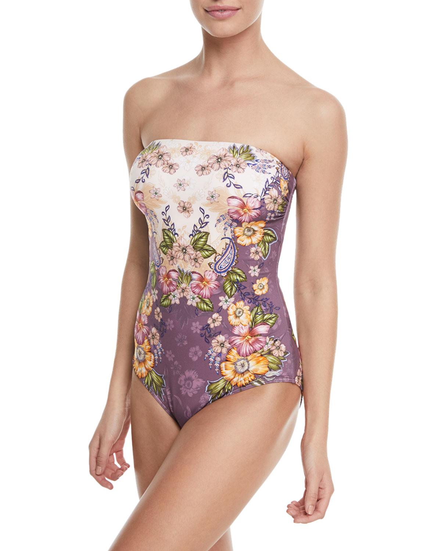 Elegance Bandeau Floral-Print One-Piece Swimsuit