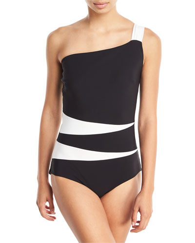 Calipso One-Shoulder Colorblock One-Piece Swimsuit