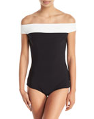 Ellyn Off-the-Shoulder Colorblock One-Piece Swimsuit