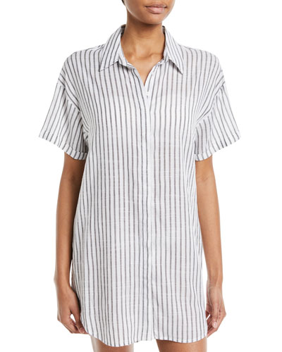 Button-Down Striped Coverup Tunic