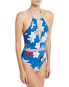 Halter Plunge Keyhole One-Piece Floral-Print Maillot Swimsuit