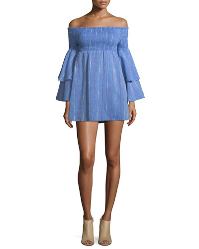 Off-the-Shoulder Bell-Sleeve Chambray Mini Dress