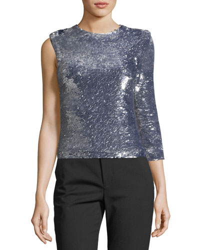 Disco One-Sleeve Sequined Top