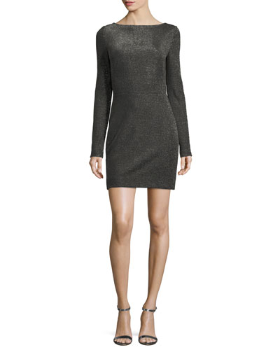 Long-Sleeve Metallic-Knit Mini Dress