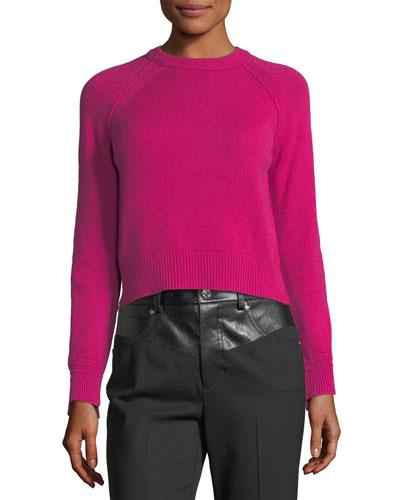 Crewneck Long-Sleeve Cashmere Sweater