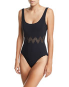 Edie Round-Neck Zigzag One-Piece Swimsuit
