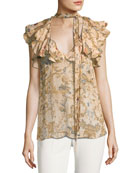 Painted Heart Damask-Print Silk Blouse
