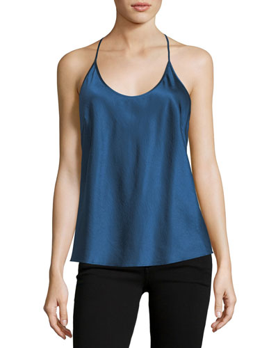 Scoop-Neck Racerback Satin Camisole