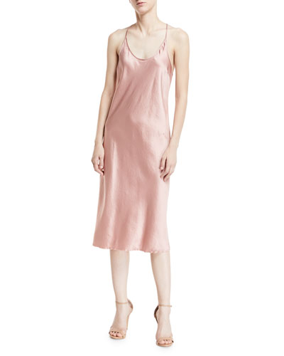 Scoop-Neck Racerback Woven Satin Slip Dress