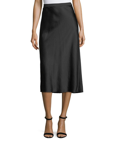 Wash Go Woven Satin A-Line Midi Skirt