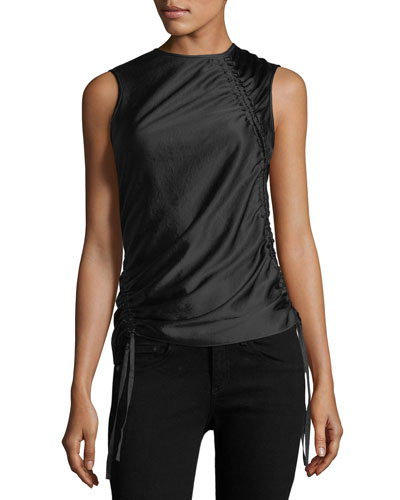 Asymmetric Drape Sleeveless Satin Top with Ruching