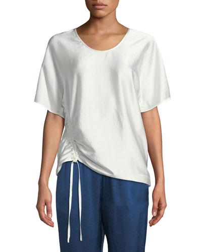Asymmetric Drape Short-Sleeve Top