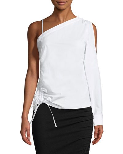 One-Sleeve Asymmetric Ruched Top