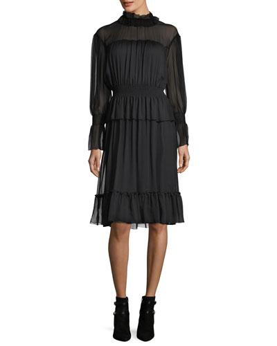 Long-Sleeve Smocked Silk Dress