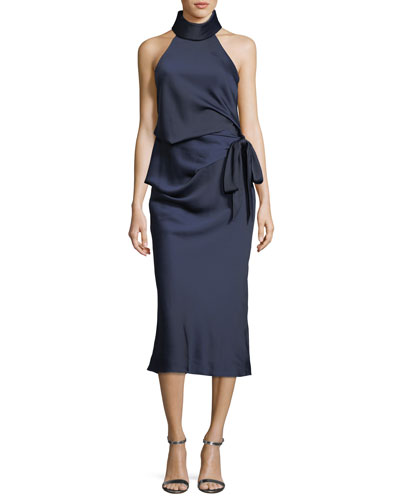 Foxglove Self-Tie Gathered Midi Cocktail Dress