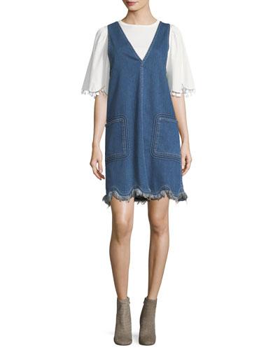 Scalloped Denim Jumper Dress