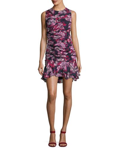Ruched Ruffle-Hem Cocktail Dress