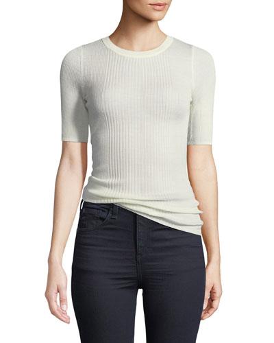 Rib-Knit Short-Sleeve Top
