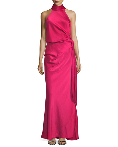 Sirocco Draped-Front Self-Tie Long Evening Gown
