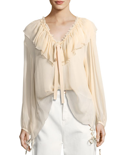 Silk Crepe Tie-Neck Top