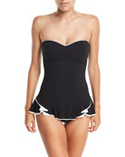 Belle Curve Bandeau Peplum One-Piece Swimsuit