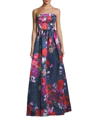 Janie Strapless Floral Evening Gown