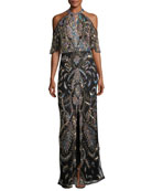Amy Cold-Shoulder Sequin Evening Gown