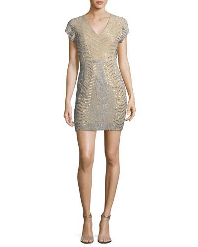 Serena V-Neck Sequin & Bead Cocktail Dress