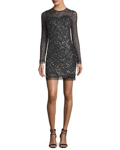 Misha Long-Sleeve Sequin Illusion Cocktail Dress