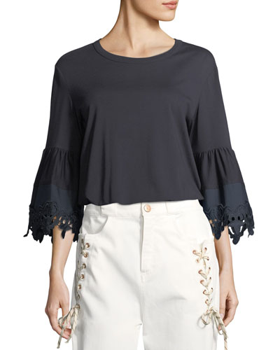 Lace-Cuff Cotton Top