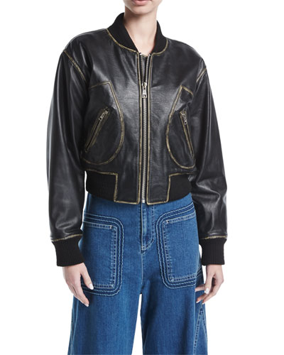 Zip-Front Long-Sleeve Leather Jacket