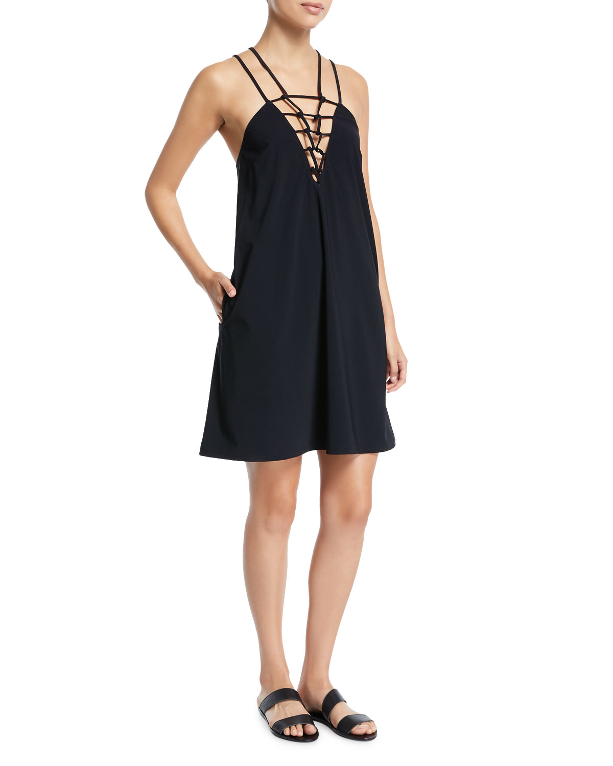 Casablanca Strappy V-Neck Shift Coverup Dress