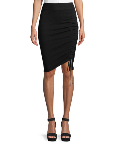 Ruched Merino Wool Pencil Skirt