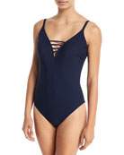Quartzite Deep-V Thin-Straps Solid One-Piece Swimsuit