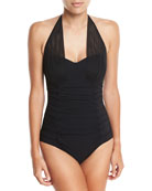 Origami Sweetheart Halter Solid One-Piece Swimsuit