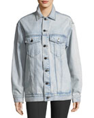 Daze Button-Front Bleached Denim Jacket