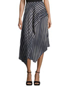 Striped Asymmetric Midi Skirt