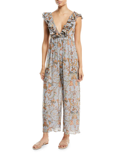 PAINTED HEART DAMASK-PRINT PLUNGING WIDE-LEG JUMPSUIT