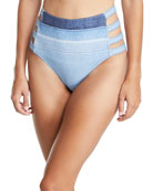 Two-Tone Denim High-Waist Strappy-Side Swim Bottoms