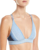 V-Neck Denim Bikini Swim Top