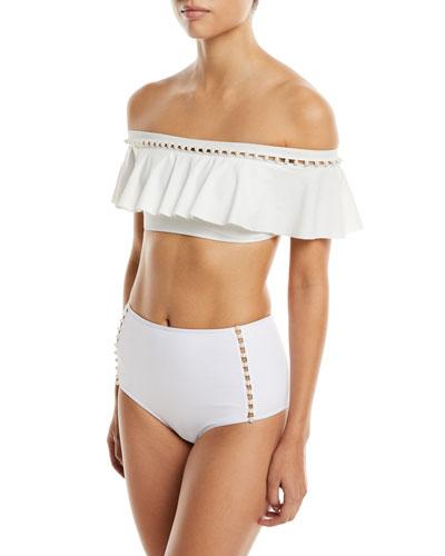 Pearl-Studded Ruffle Bikini Swim Top