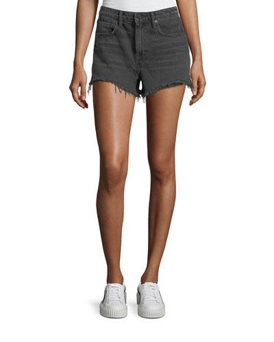 Bite Clash Terry-Lined Denim Cutoff Shorts