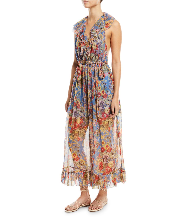 df6174e8ca Lovelorn Halter Floral-Print Ruffled Wide-Leg Jumpsuit