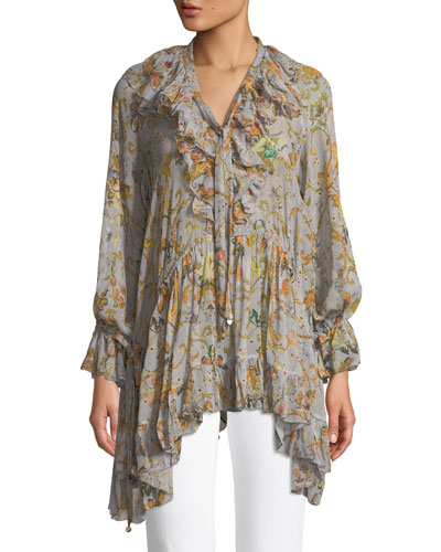 Painted Heart Printed Ruffled Silk Blouse