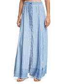 A-line Frayed-Edges Maxi Skirt