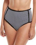 Mixed-Gingham High-Waist Bikini Swim Bikini Bottoms