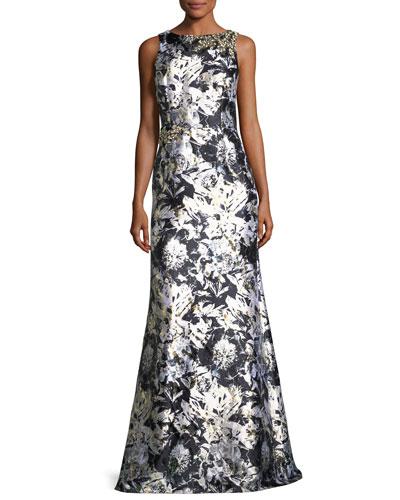 Metallic Floral-Print Satin Gown