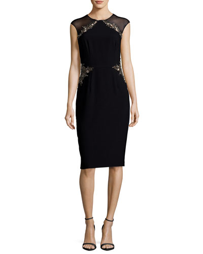 Illusion Cap-Sleeve Jeweled Sheath Dress