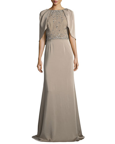 Capelet Jewel-Bodice Short-Sleeve Gown