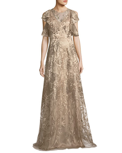 Sleeveless Ruffled Metallic Lace Gown